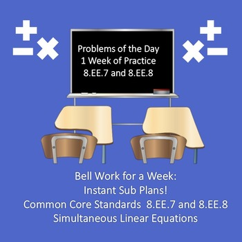 Solve Systems of Equations Graphing Bell Work for Week Qui