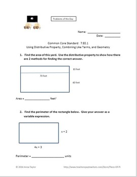 Distributive Property Combine Like Terms Bell Work Quick Checks 7.EE.1 8.EE.1