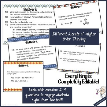 BellWork/ WarmUps Editable- For the Entire Year: Chemistry