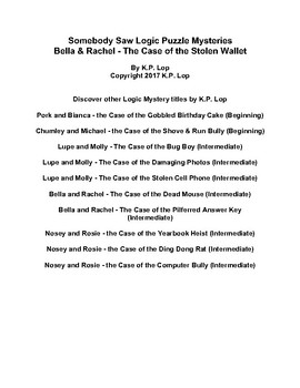 Somebody Saw Logic Puzzles, Bella & Rachel - The Case of the Stolen Wallet