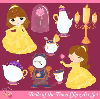 Princess Belle of the town Beauty and the Beast Clip Art Set