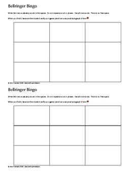 Bellringer Bingo Template ~ by Kim Townsel