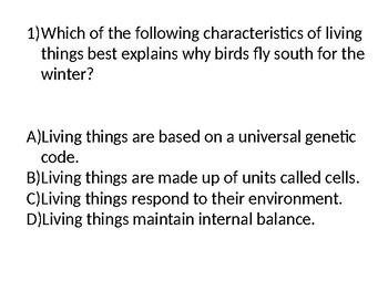 Bellringer - Biology Review Questions