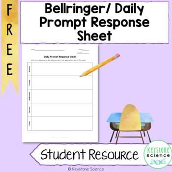FREE Bellringer Getting Started Transition Response Sheet