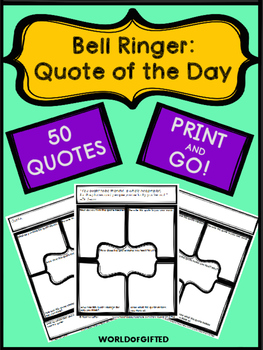 Bell Ringer Quote of the Day:50 Quotes, 5 Questions per Quote, Blank Charts