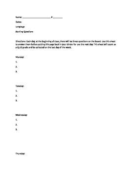 Bellringer Sheet