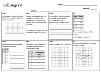 Bellringer's: 8th Grade Pre-Algebra (42 weeks)