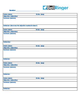 Bellringer sheet weekly (Spanish)
