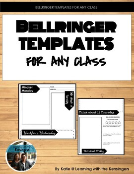 Bellringer student template sheets
