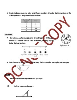 Bellwork - 7th Grade Math - Weeks 1-20 and 5 Quizzes