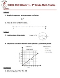 Bellwork - 8th Grade Math - Weeks 1-20 and 5 Quizzes