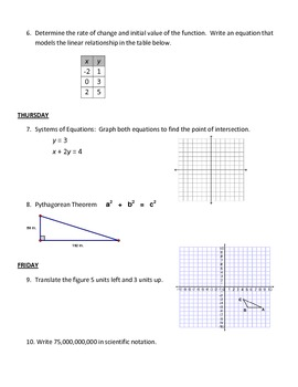 Bellwork - 8th Grade Math - Week 1