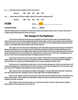 Bellwork - COMMON CORE READING Voyage of the Mayflower (with KEY)