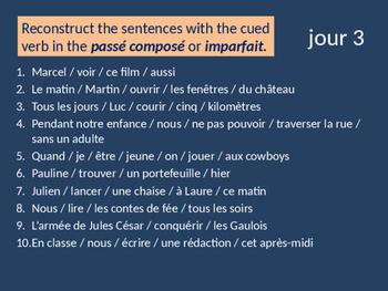 Bellwork French imparfait et passé composé