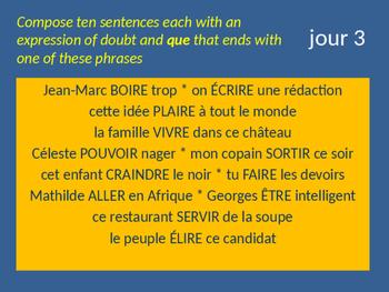 Bellwork French le subjonctif verbes de doute