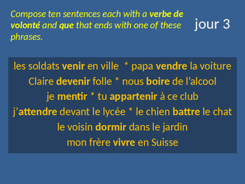 Bellwork French le subjonctif verbes de volonté