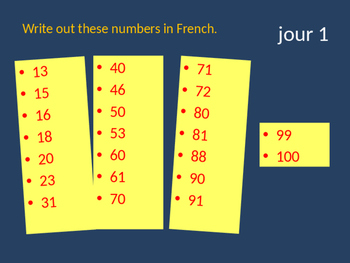 Bellwork French numbers 0-100