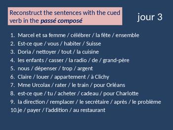 Bellwork French passé composé of er verbs