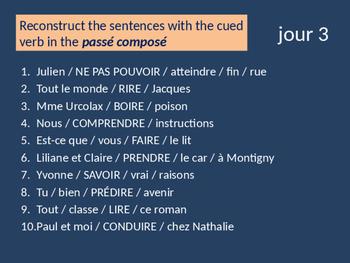 Bellwork French passé composé of irregular verbs