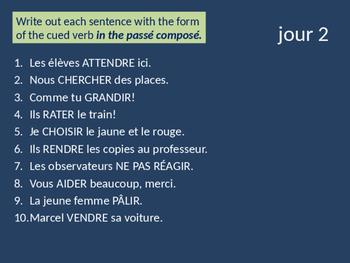 Bellwork French passé composé of regular verbs