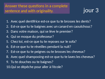 Bellwork French reflexive verbs