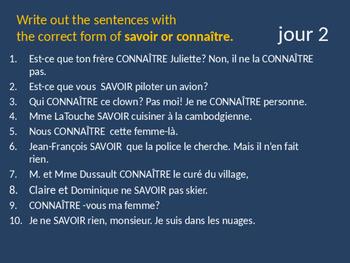 Bellwork French savoir et connaitre