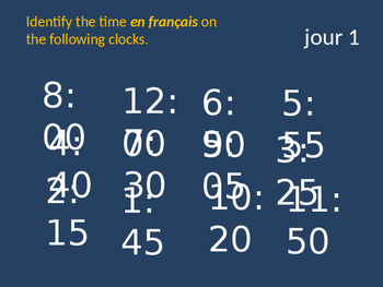 Bellwork French telling time