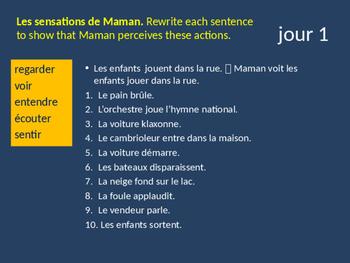 Bellwork French verbes de perception