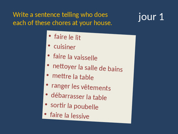 Bellwork French vocabulary chores