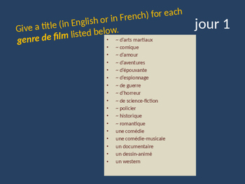 Bellwork French vocabulary cinéma
