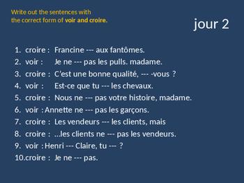 Bellwork French voir et croire
