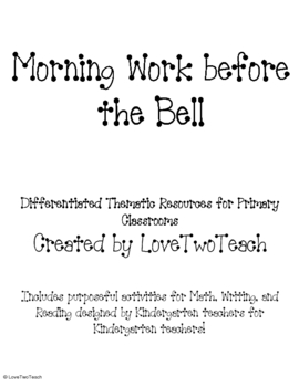 Bellwork:  Morning Work Before the Bell