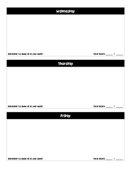 Bellwork Packet Template