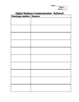 Bellwork Sheet