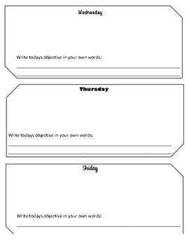 Bellwork Template for week