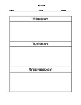 Bellwork Weekly Format