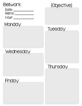 Bellwork Weekly Recording Sheet