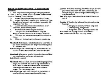 Bellwork and Exit Questions: Romeo and Juliet Week 1 of 4