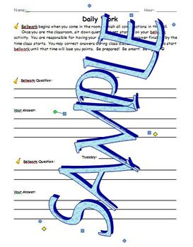 Bellwork and Wrap-up Student worksheets