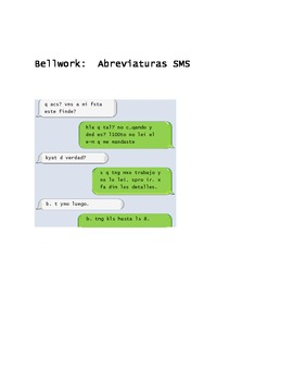 Bellwork for Spanish class (text messaging abbreviations i