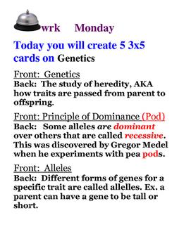 Genetics Bellwork for the Week