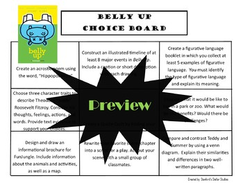 Belly Up Choice Board Novel Study Activities Menu Book Project Rubric