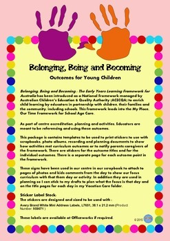 Belonging Being Becoming Outcomes Stickers Labels for Childcare Early Years EYLF