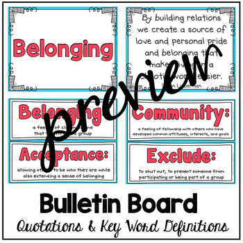 Belonging Themed Morning Meeting Quotations and Vocabulary