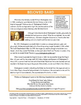 Webquest About Shakespeare's Life and Works: Beloved Bard ...