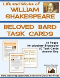Shakespeare Life and Works Task Cards (50 Cards, $4)