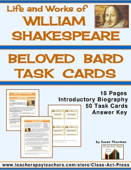 Beloved Bard: Task Cards for Shakespeare's Life and Works