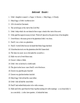 Beloved Book 1 Reading Check Test/Quiz