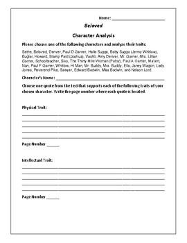 Beloved Character Analysis Activity - Toni Morrison