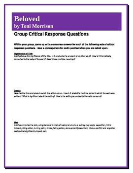 Beloved - Morrison - Group Critical Response Questions